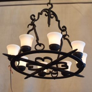Vintage Belgian Chandelier with New Glass Shades