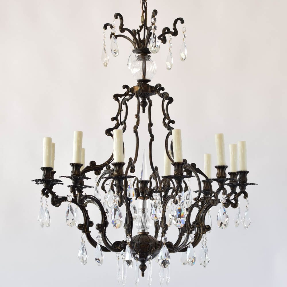 Italian Rococo Bronze Chandelier with Crystal The Big Chandelier – Bronze Chandelier with Crystals