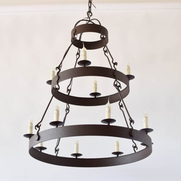 2 Tier Iron Ring chandelier with Rustc finish. Custom Sizes avaialable