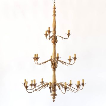 3-tier Antique Wood and Iron Italian Chandelier