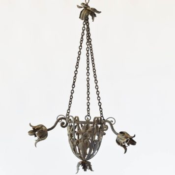 French Iron Toile Chandelier with Central Urn