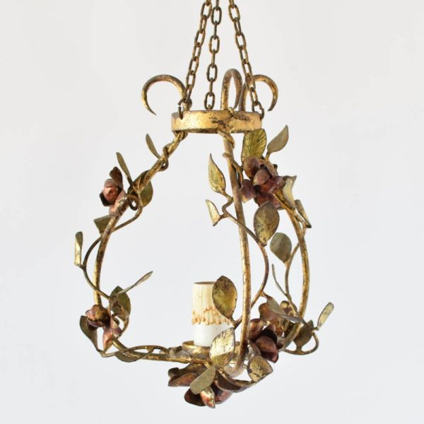 Vintage Spanish Iron Pendant with Leaves and Roses