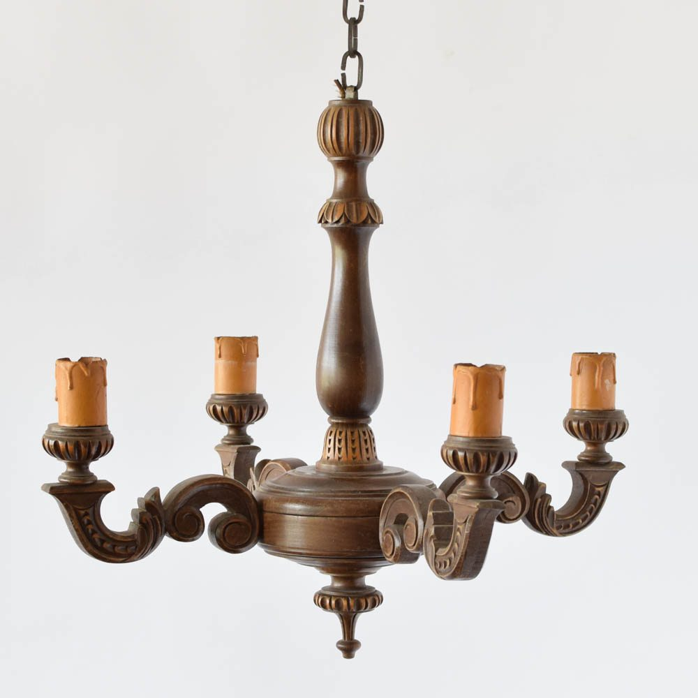 Turned wood chandelier the big chandelier old belgian wood chandelier with turned column and simple arms aloadofball Image collections