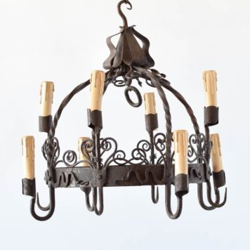 iron dome chandelier with two tiers of lights curly old