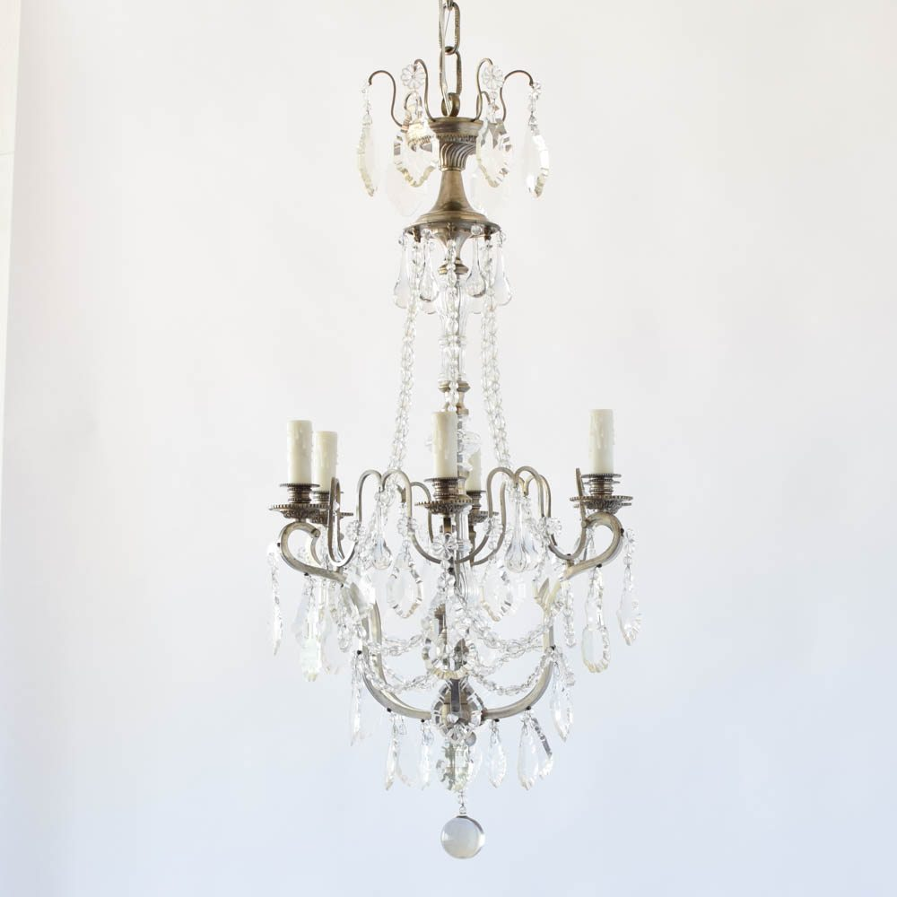Antique French Nickel and Crystal Chandelier - Antique French Nickel And Crystal Chandelier - The Big Chandelier