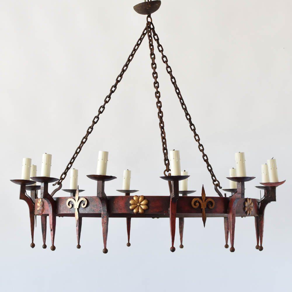Large iron ring chandelier wfleur de lis the big chandelier vintage french iron ring chandelier aloadofball Choice Image