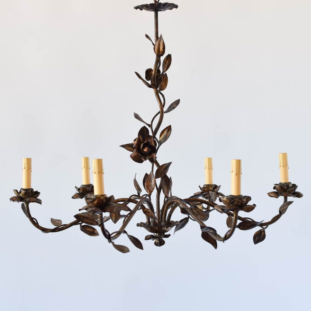flowers leaves gilded spain spanish chandelier antique - Spanish Gilded Chandelier W/ Leaves And Flowers - The Big Chandelier