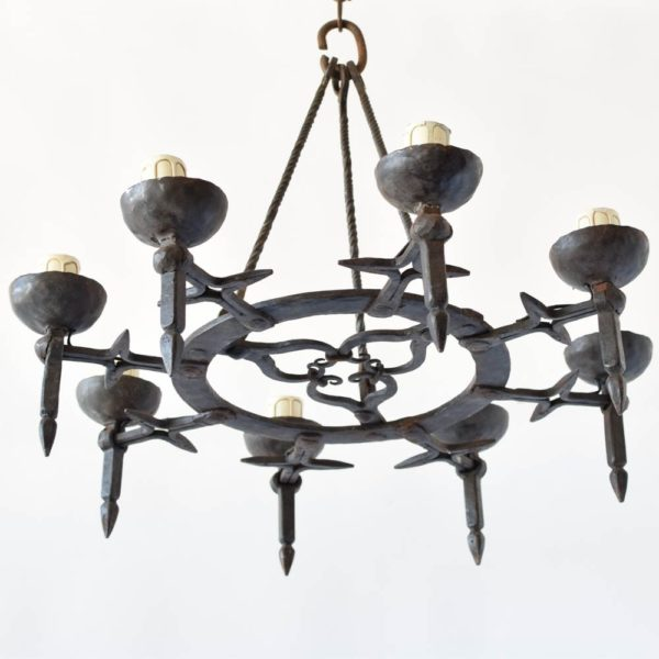 hammered iron chandelier antique dungeon forged