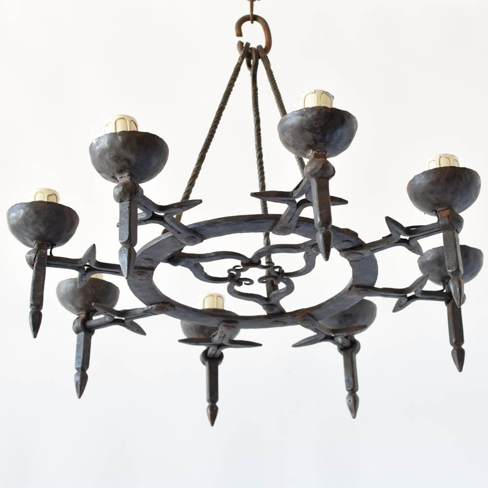by antique with rods product of ga iron big hammered the chandelier forged suspension atlanta rod w dungeon