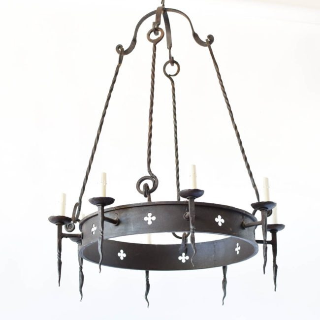 quatrefoil chandelier spikes iron hook and rod