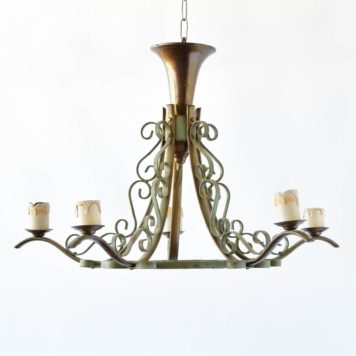 painted brass iron old green chandelier antique belgian french
