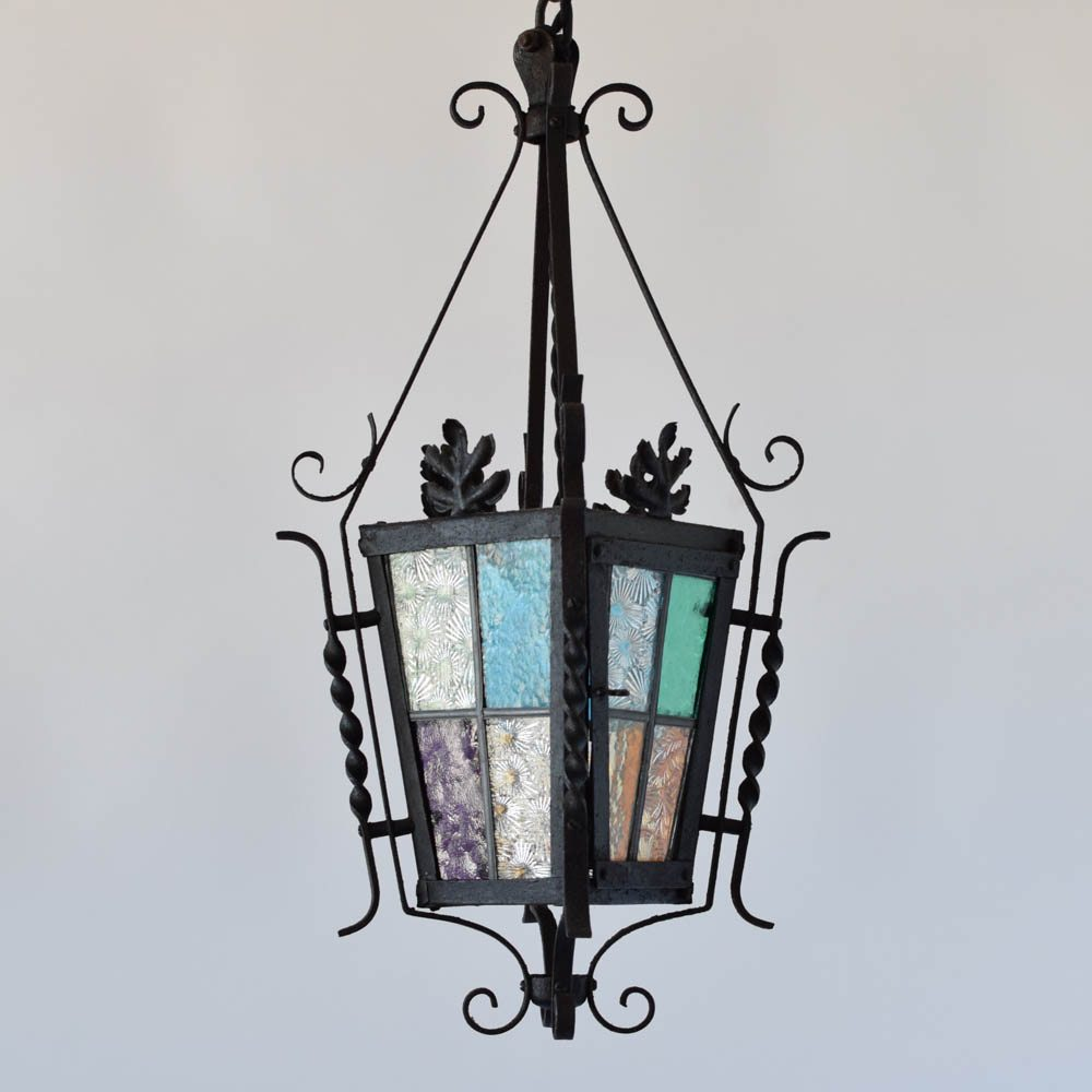 Antique english lantern w stained glass the big chandelier antique england lantern stained glass iron leaves curly arubaitofo Gallery