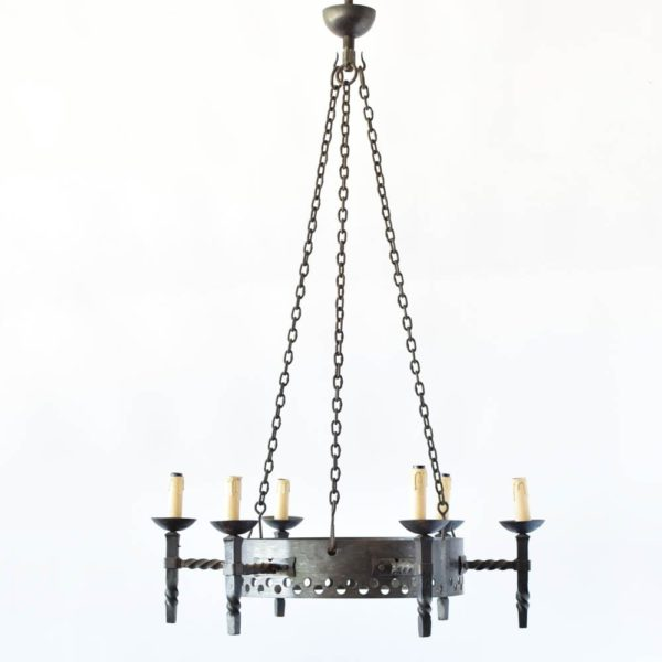 industrial iron ring chandelier