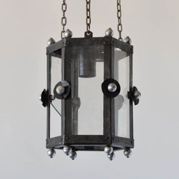 vintage iron lantern nickel antique vintage french