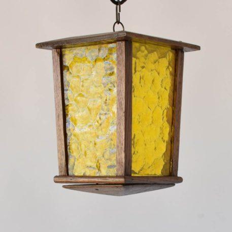 wood belgian antique vintage lantern with amber hammered glass light