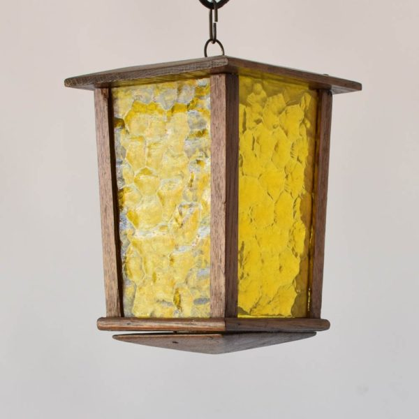 wood belgian antique vintage lantern with amber hammered glass light
