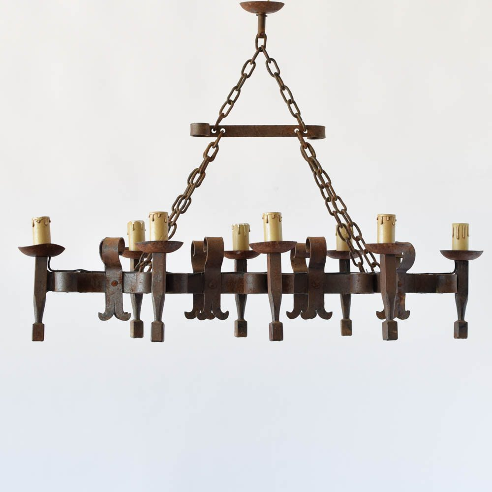 Elongated forged chandelier the big chandelier eongated french iron chandelier with forged candelholders and scroll decorations aloadofball Gallery