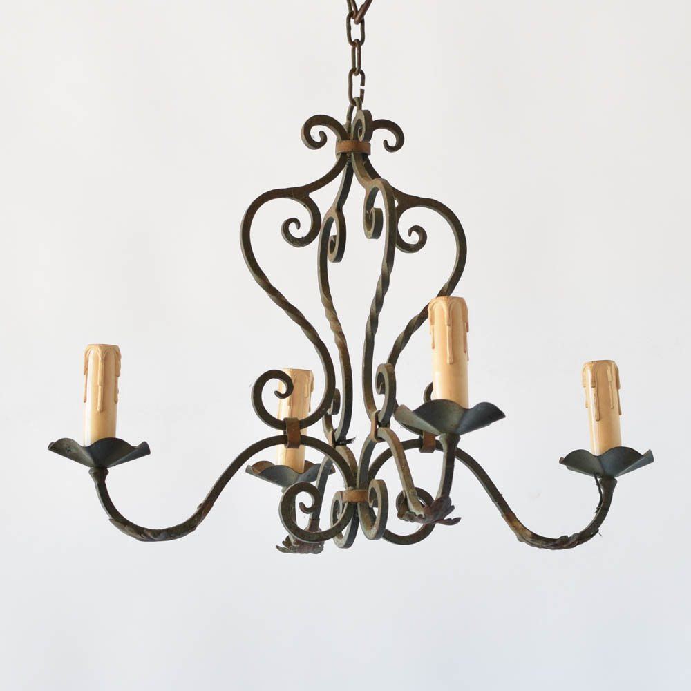 Small green iron chandelier the big chandelier rion green antique vintage old curly arubaitofo Choice Image