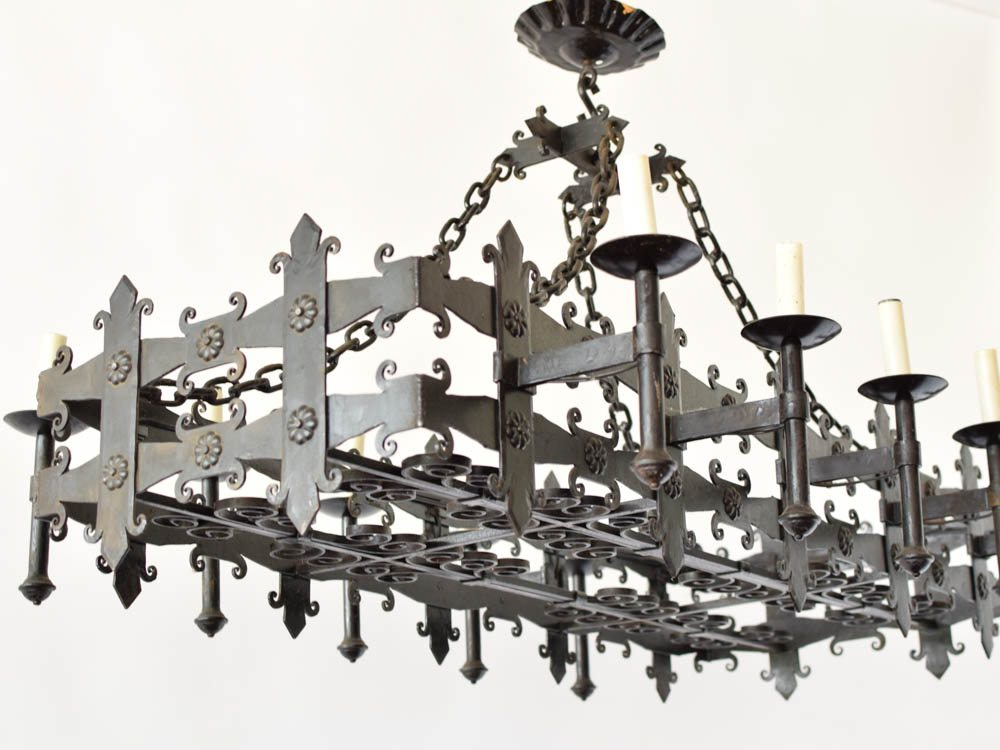 Elongated gothic iron rectangle chandelier the big chandelier antique vintage old belgium france aloadofball Gallery