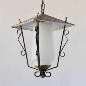 iron lantern geometric lantern with white glass