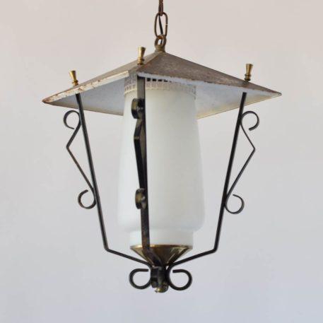 iron lantern geometric lantern with white glass