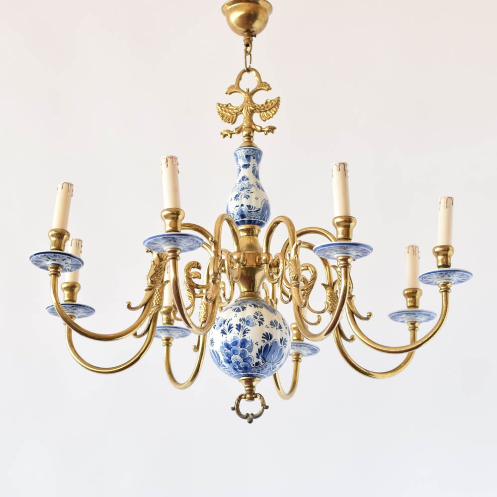 Blue and white delft chandelier the big chandelier vintage antique old delft holland porcekaun mozeypictures