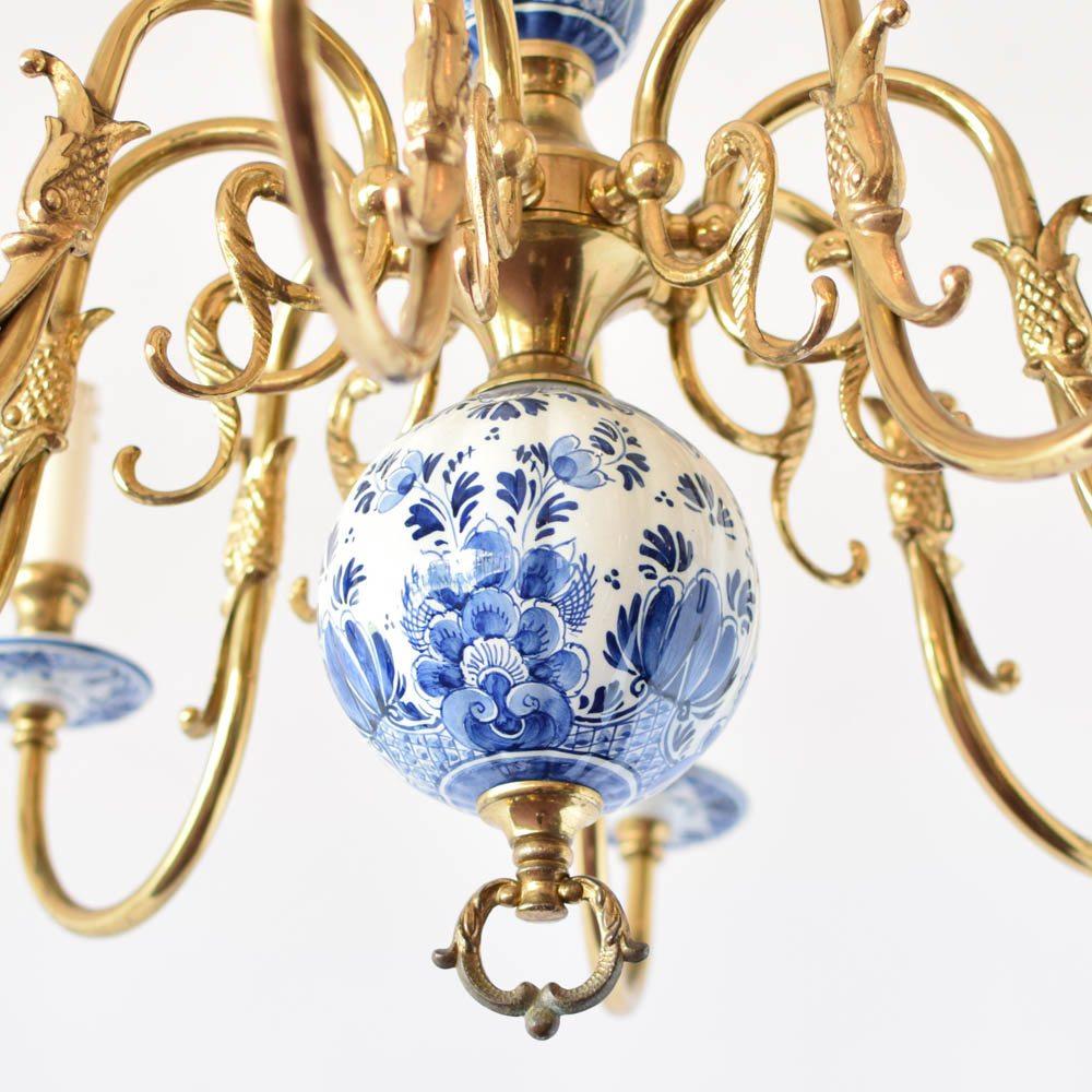 Blue and white delft chandelier the big chandelier delft holland vintage antique old aloadofball Gallery