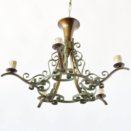 curly green iron chandelier