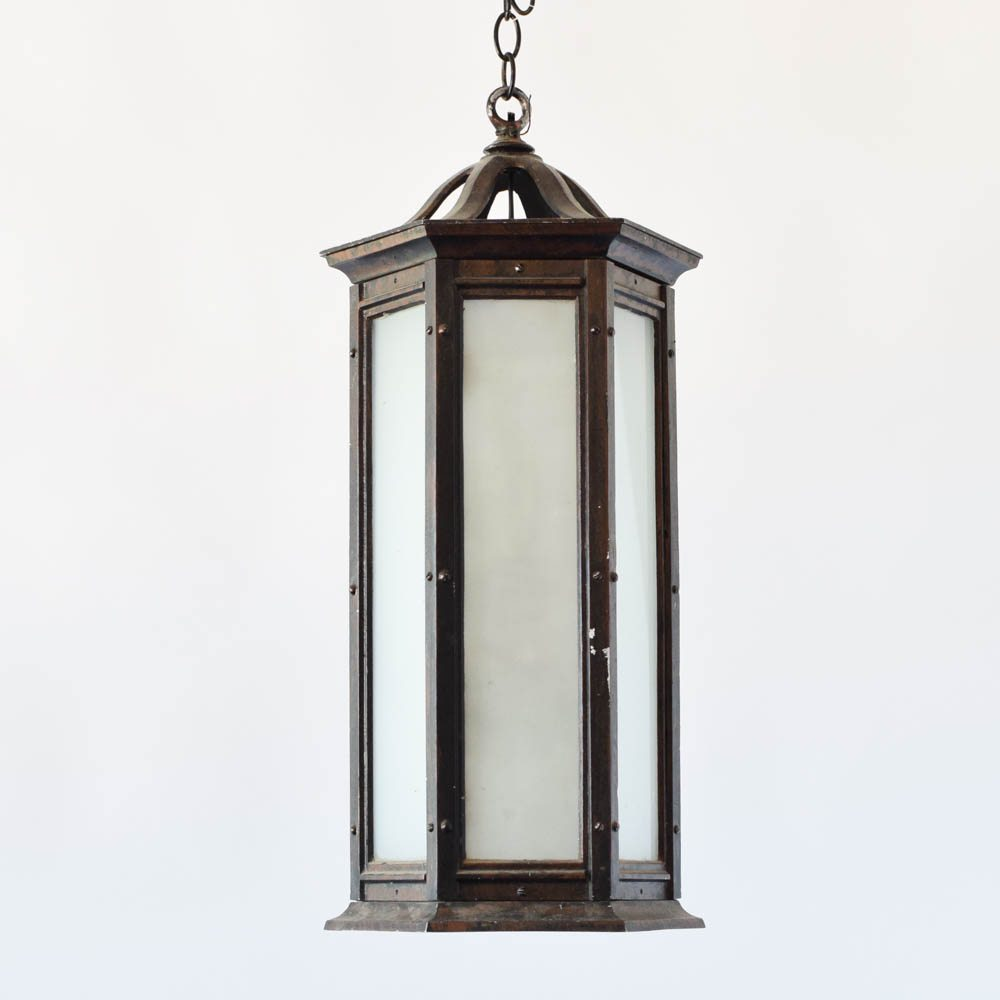 Hexagon shaped lantern with frosted glass the big chandelier vintage hexagon lantern frosted glass mozeypictures Gallery