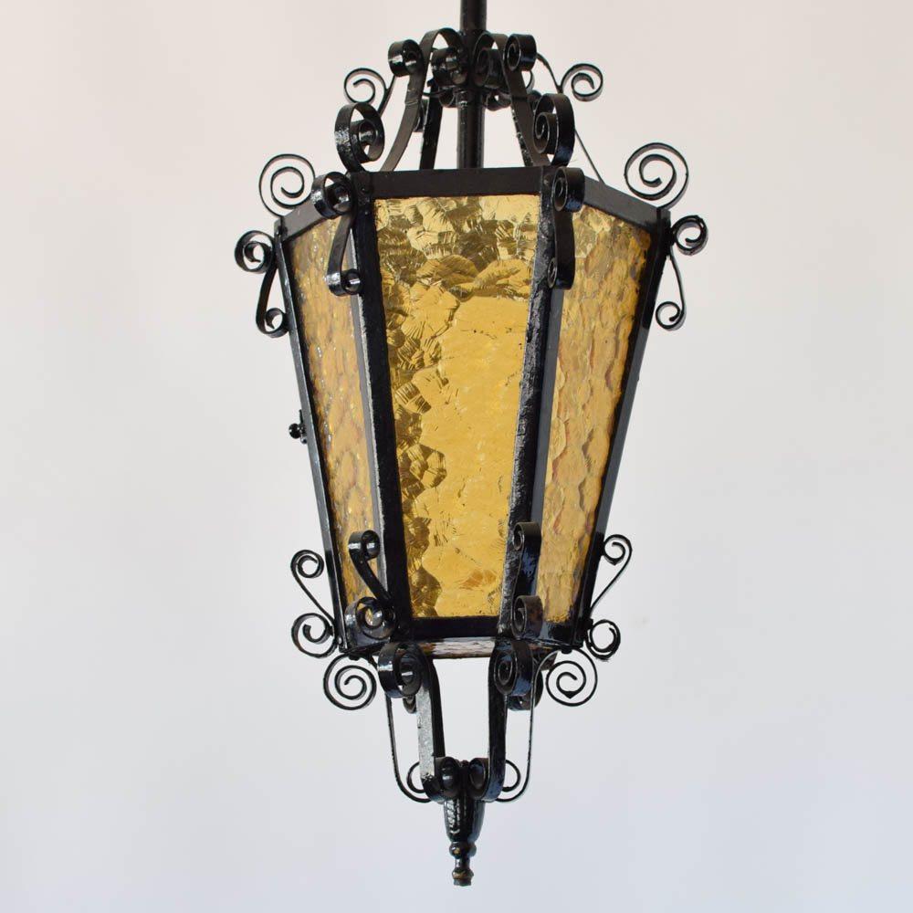 Iron lanterns w amber glass the big chandelier yellow amber glass hammered glass iron lantern curly aloadofball Images