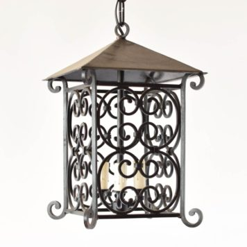 4 sided open lantern with 3 light candle cluster