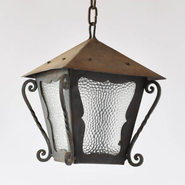 Simple Vintage Iron Lantern with 4 scrolls on the sides and original glass