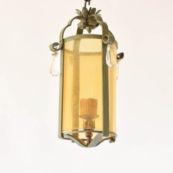 Round Vintage Iron Lantern with Amber Glass cyclinder accented by four crystal prisms