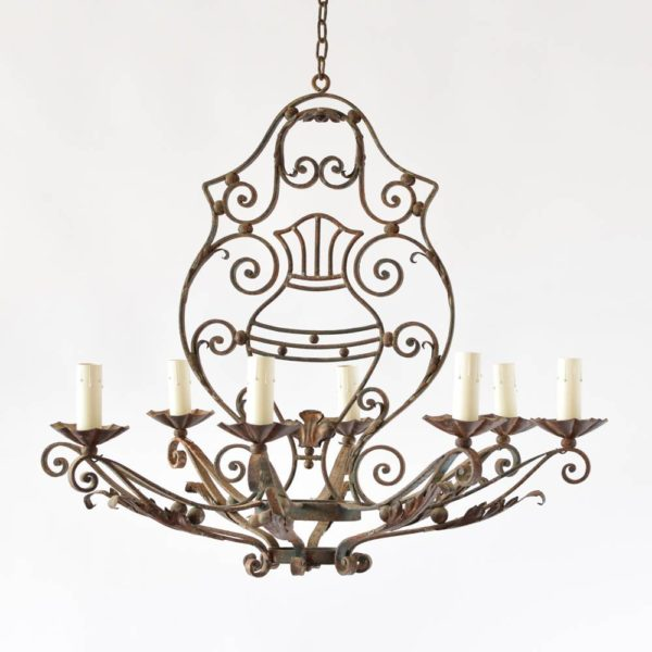 Vintage French Chandelier with Central Shield