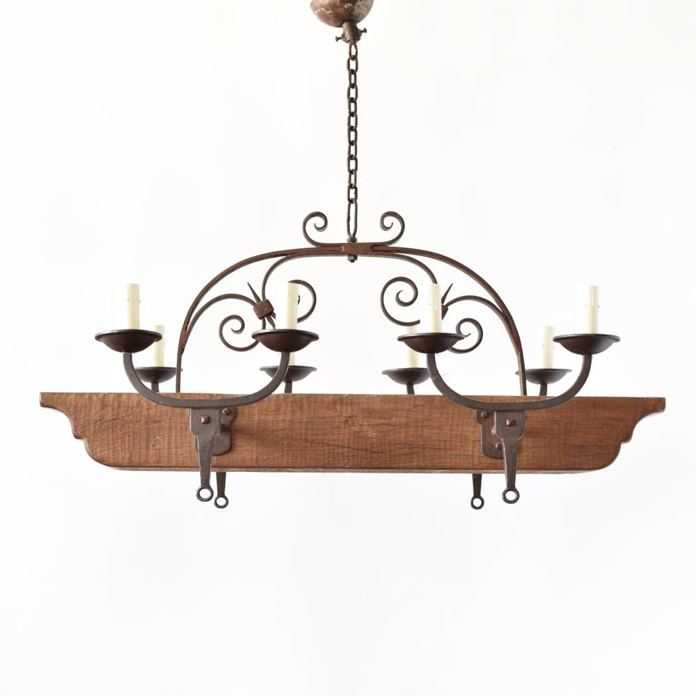 Woodiron beam chandelier the big chandelier rustic wood beam chandelier from belgium with forged iron arms aloadofball Image collections