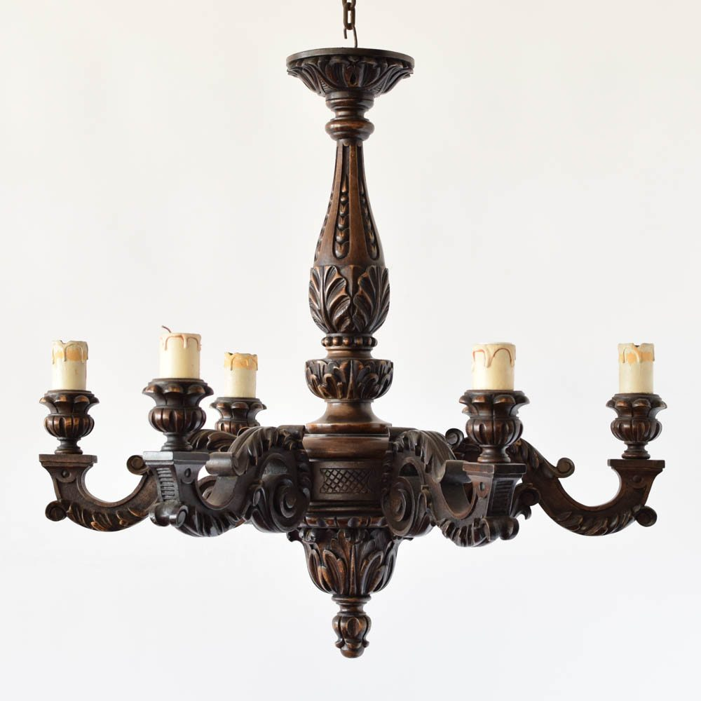 Large heavily carved wood chandelier the big chandelier heavily carved vintage belgian wood chandelier aloadofball Gallery