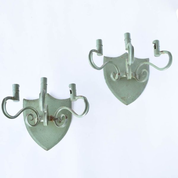 Iron Wall Sconces with Large Shield Backplate