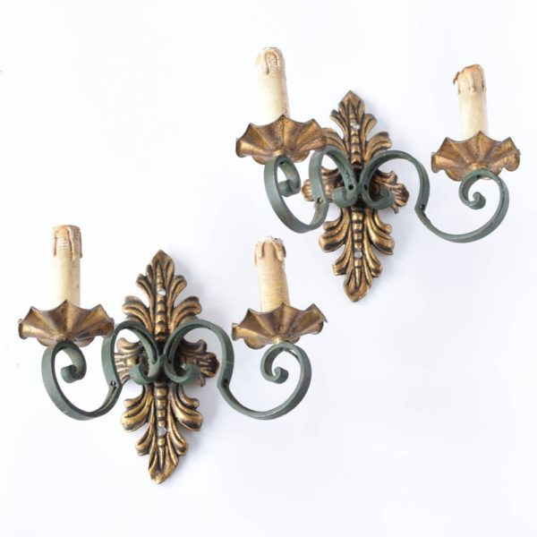 Vintage Iron Sconces with Green Arms and Antique Gold Leaf Backplates