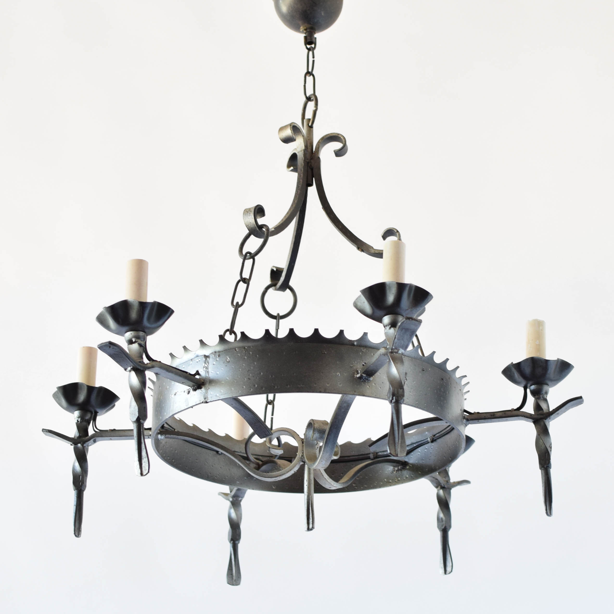 Gothic Iron Ring w Torch Arms The Big Chandelier