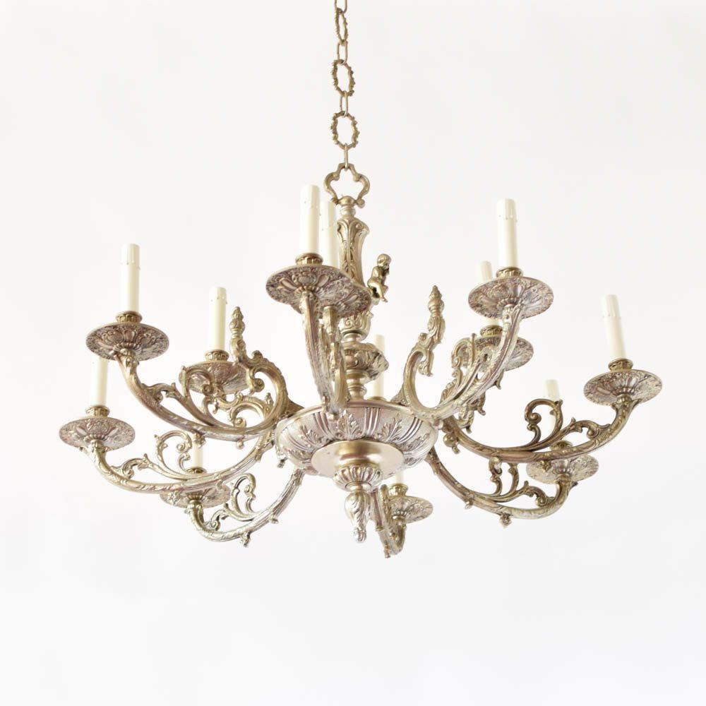 Nickel cherub chandelier the big chandelier antique vintage old arubaitofo Gallery