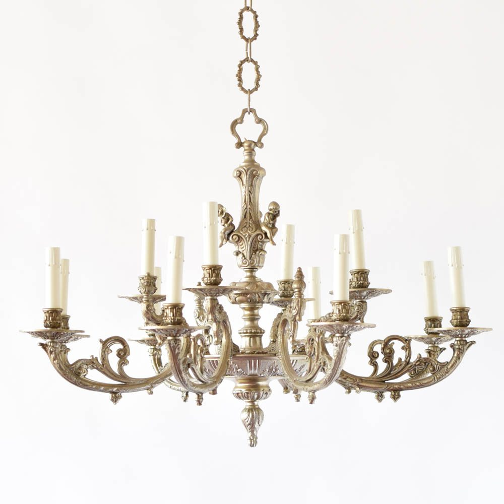 Nickel cherub chandelier the big chandelier nickel cherub chandelier antique vintage old arubaitofo Gallery