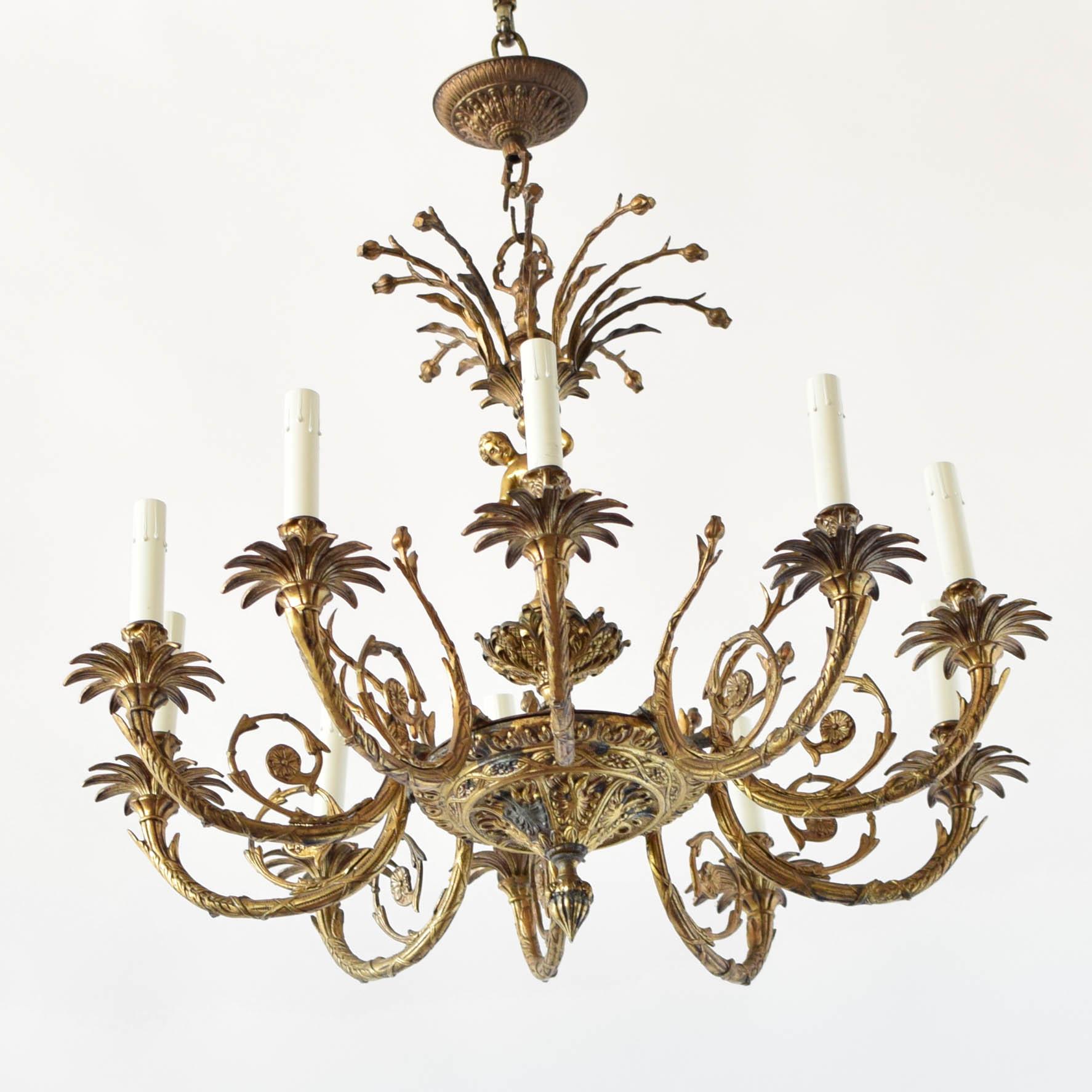 Bronze cherub chandelier the big chandelier old vintage antique belgian french spanish spain france belgium arubaitofo Gallery