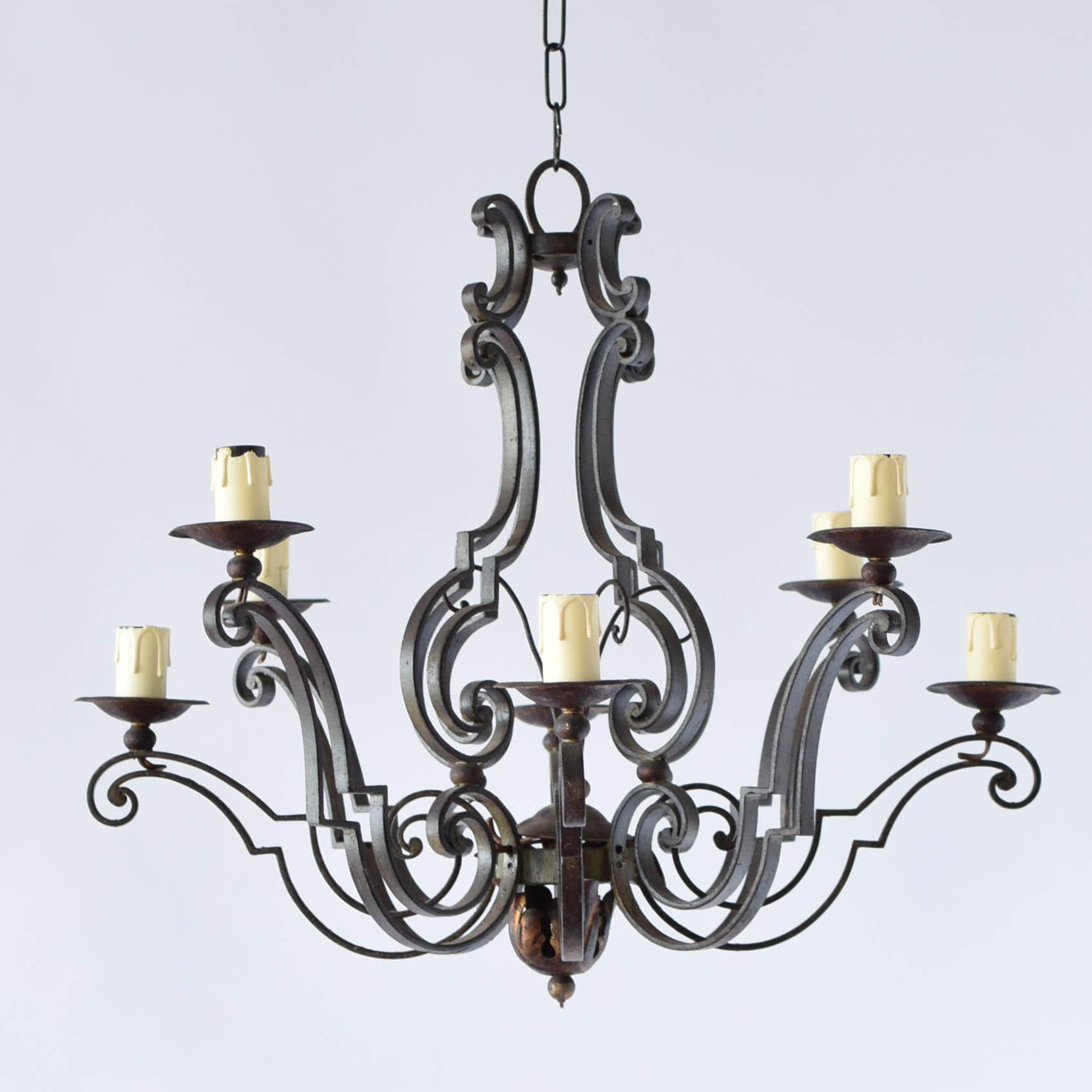 Two Tier Layered Iron Curl Chandelier The Big Chandelier