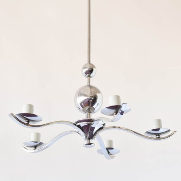 Chrome Mid Century Chandelier