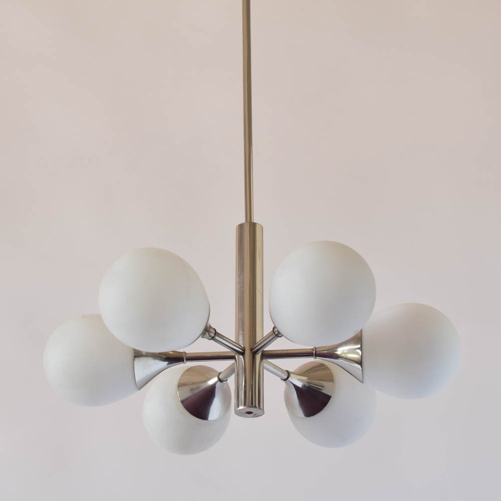 Pair mid century chandeliers woriginal glass the big chandelier chrome and glass mid century chandelier aloadofball Image collections