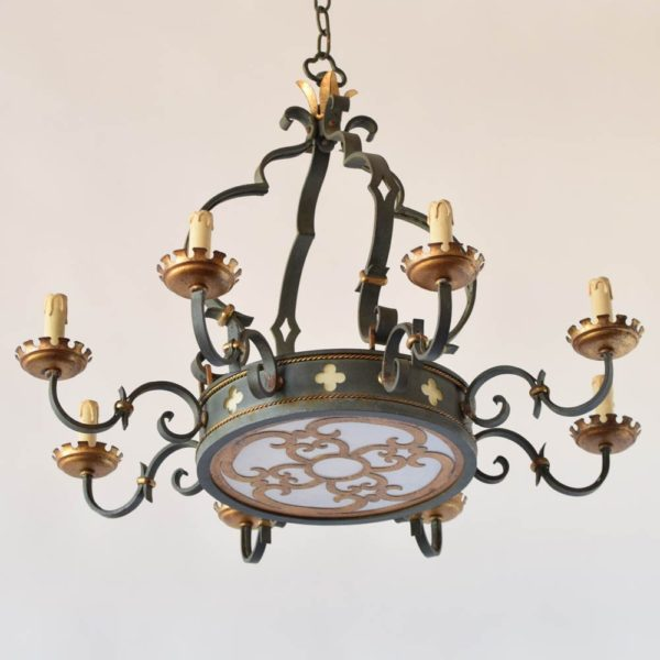 Antique Iron Chandelier with Quatrafoil Design