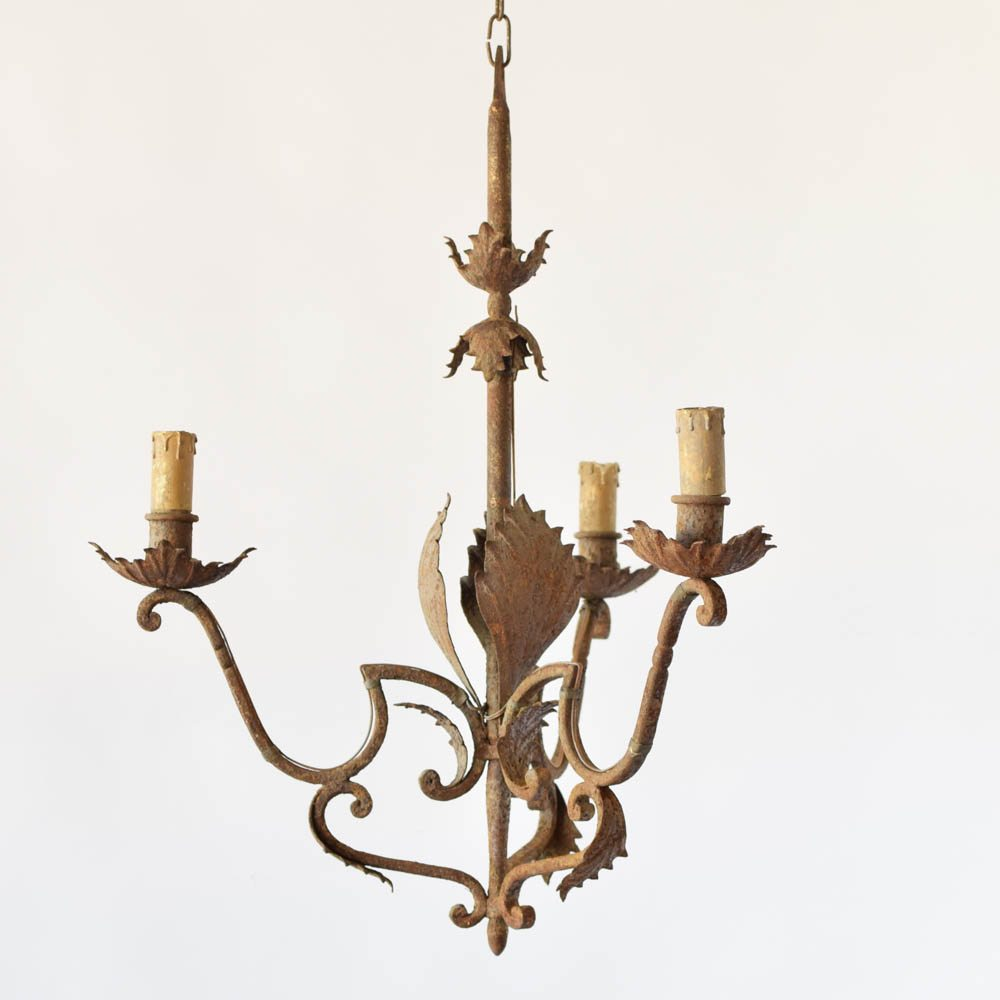Antique Spanish Chandelier made in Iron with Leaves and Funky Arms - Eclectic Spanish Chandelier - The Big Chandelier