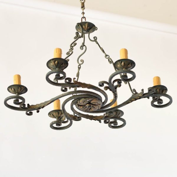 Unusual French Iron Swirl Form Chandelier