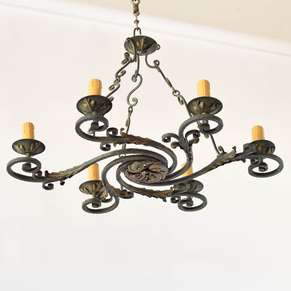 French iron swirl chandelier the big chandelier unusual french iron swirl form chandelier mozeypictures Choice Image