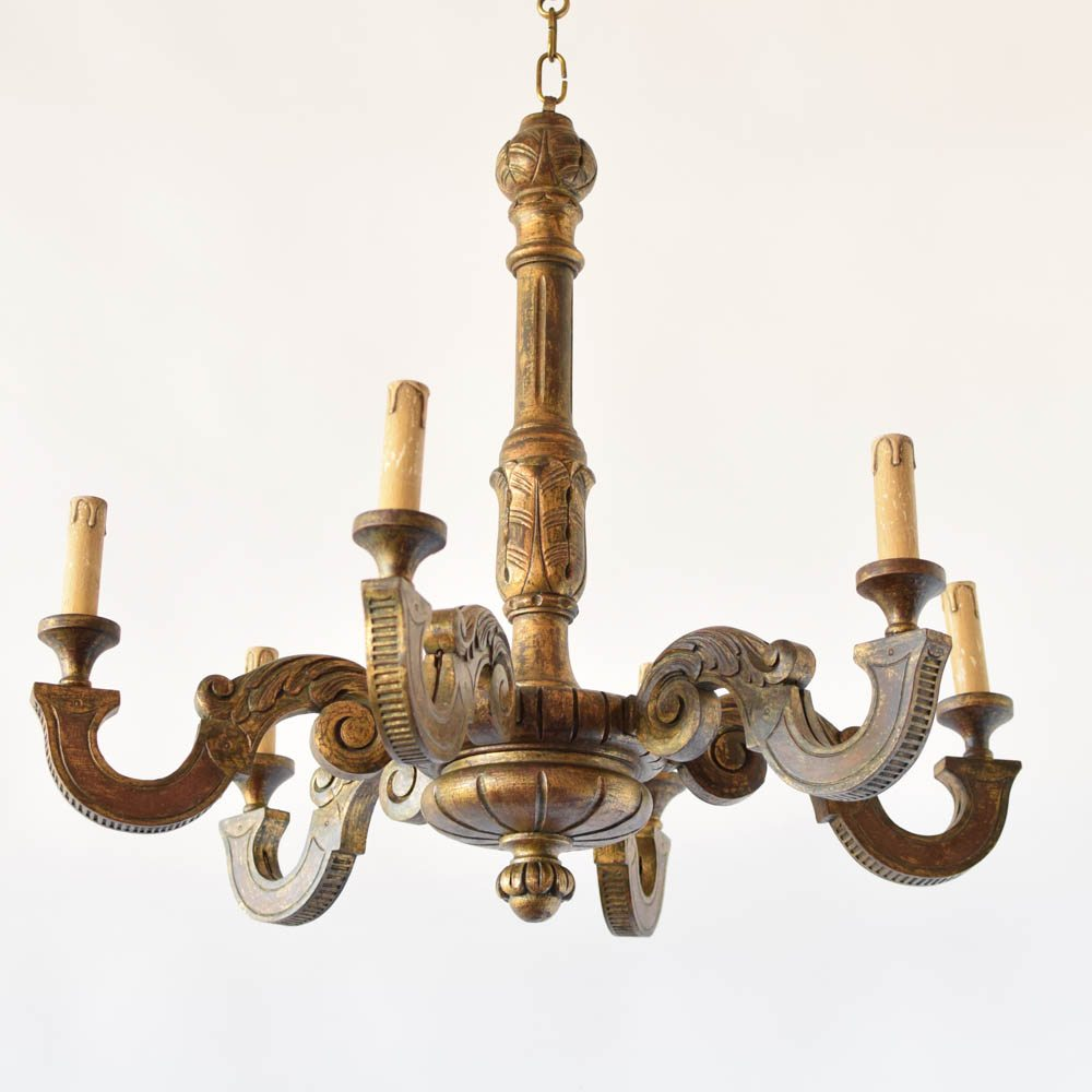 Painted Wood Chandelier From Italy